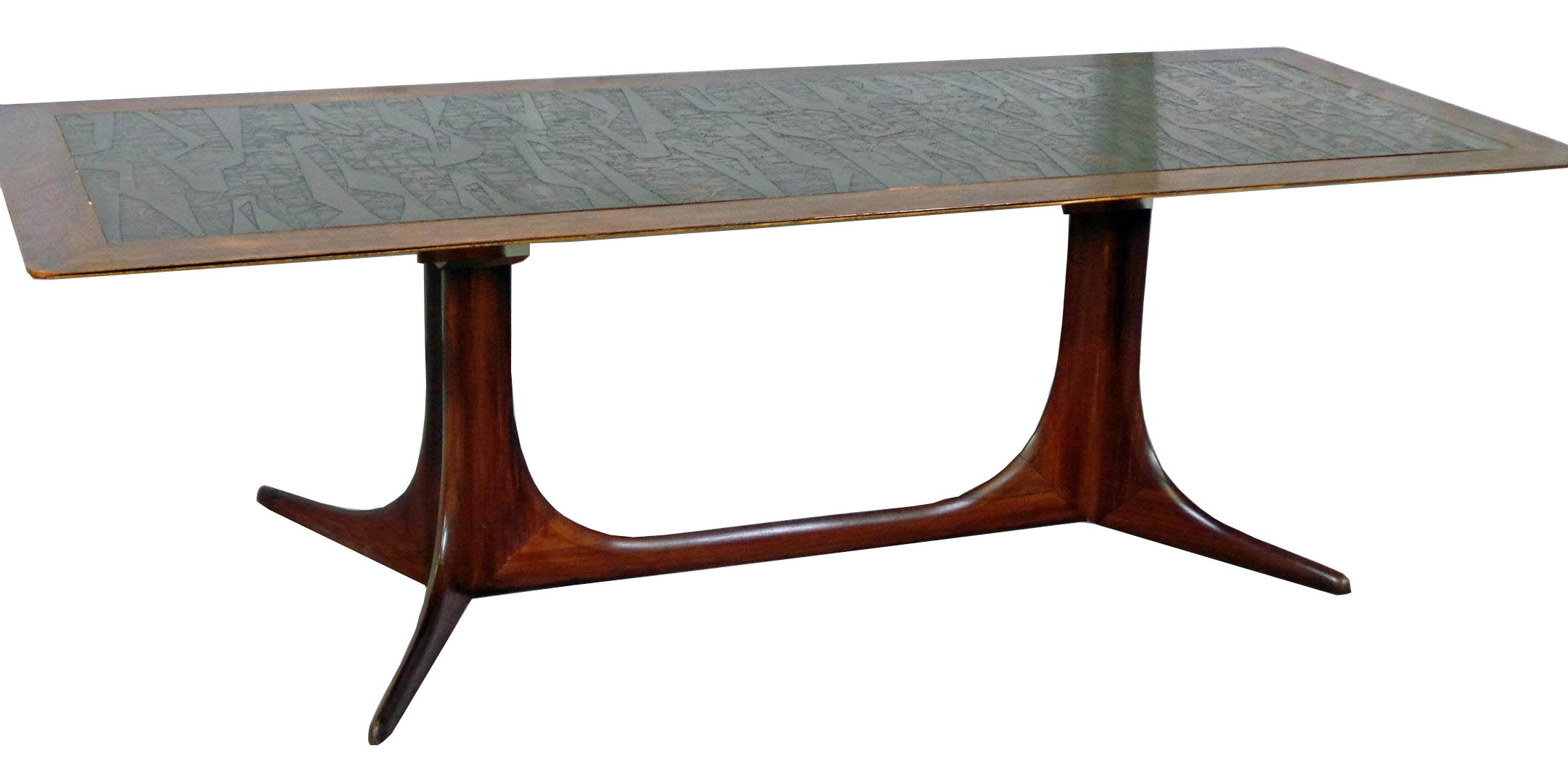 Copper Topped Danish Modern Sofa Table