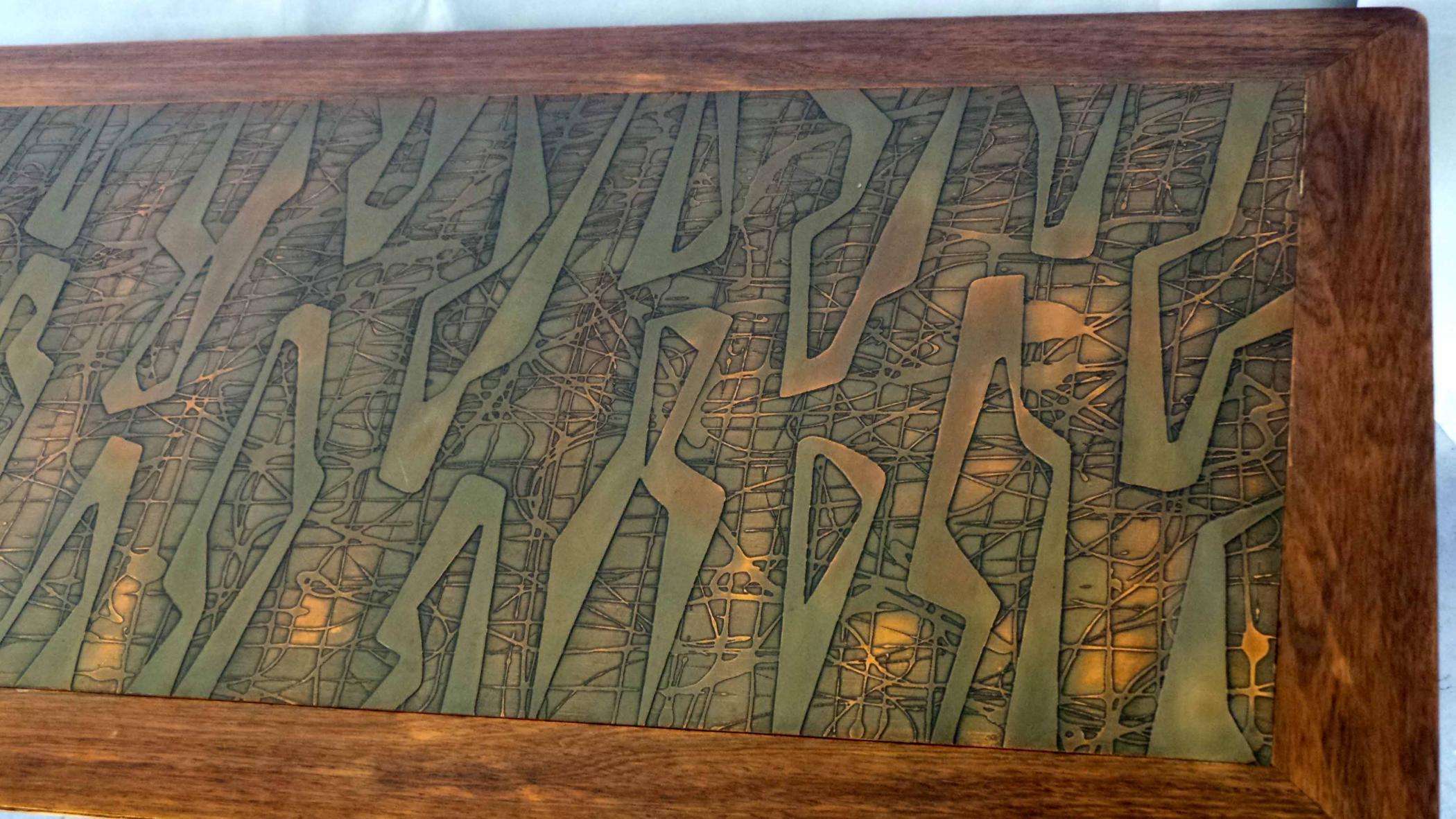 Copper Topped Danish Modern Sofa Table