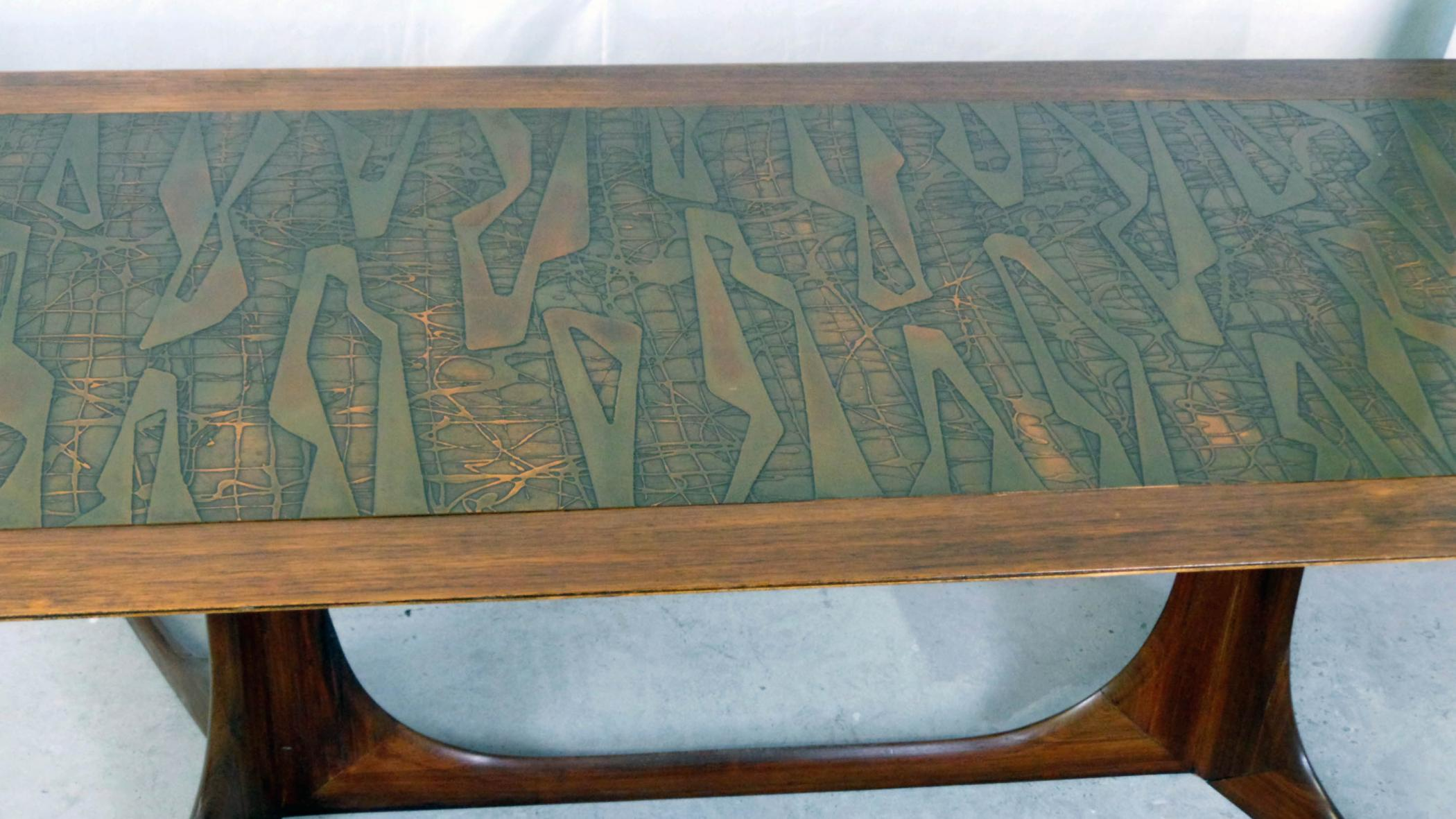 Copper Topped Danish Modern Sofa Table Modernism