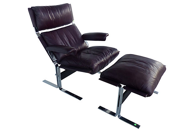 Wondrous Lounge Chair Ottoman In Aubergine Leather By Desede Evergreenethics Interior Chair Design Evergreenethicsorg