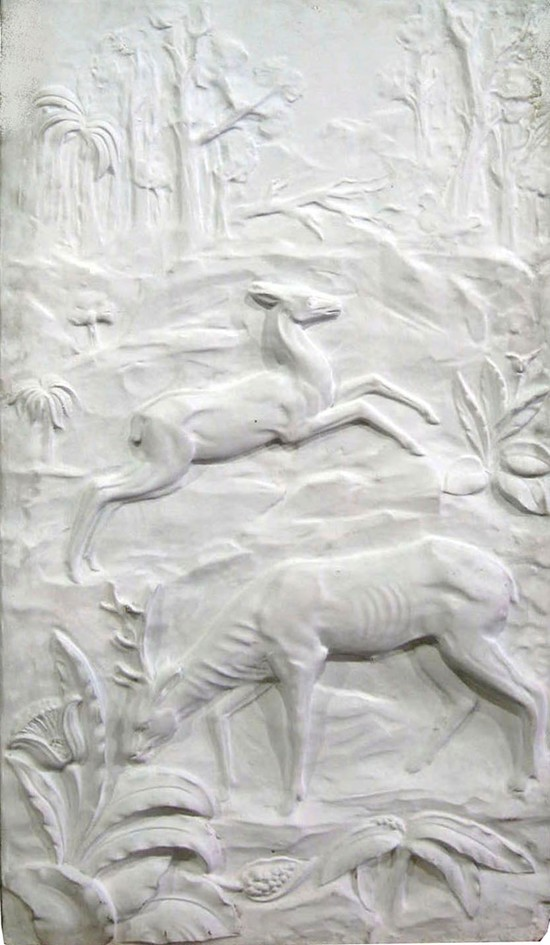 Large American Art Deco Sculptured Deer Wall Plaque