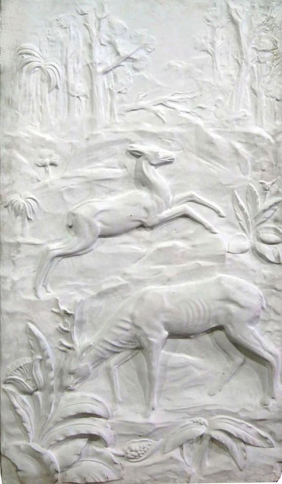 Large American Art Deco Sculptured Deer Wall Plaque  Modernism