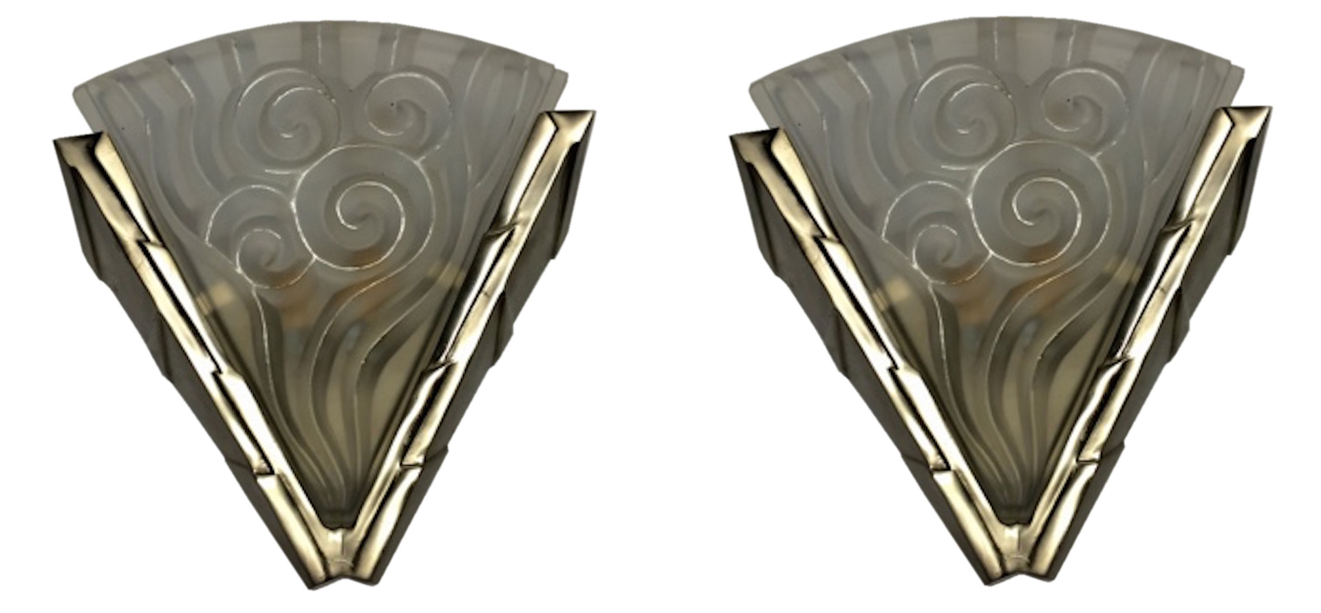 Pair French Art Deco Wall Sconces By Degue Modernism