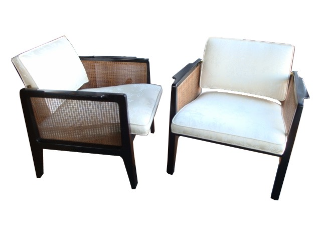 Edward Wormley For Dunbar Cane Lounge Chairs Pair 1955