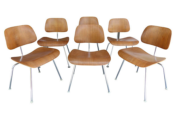 set of eames dcm bent wood chairs for herman miller modernism