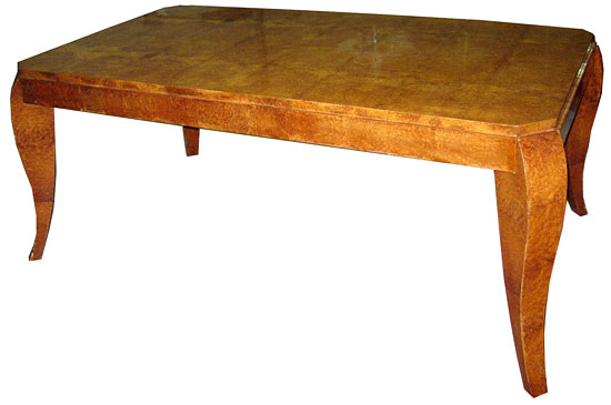 French Amboina Burl Art Deco Dining Table Modernism