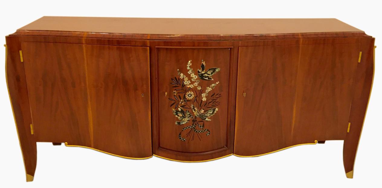 French Art Deco Inlay Butterfly Buffet By Jules Leleu Modernism