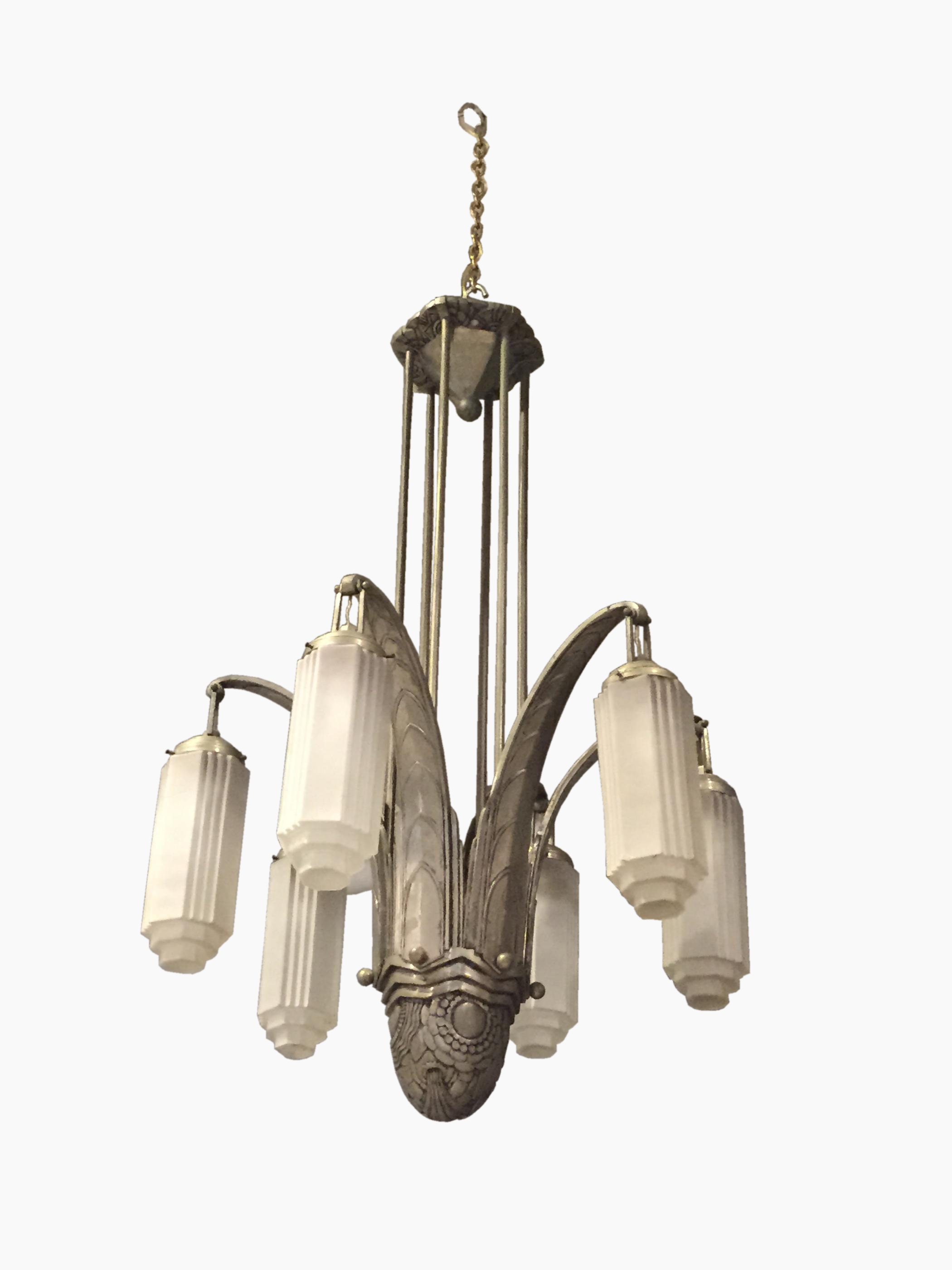 French Art Deco Wrought Iron Six Arm Chandelier Modernism