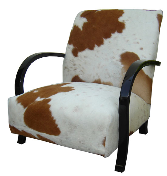 French Art Deco Club Chair In Cowhide U0026 Black Lacquer