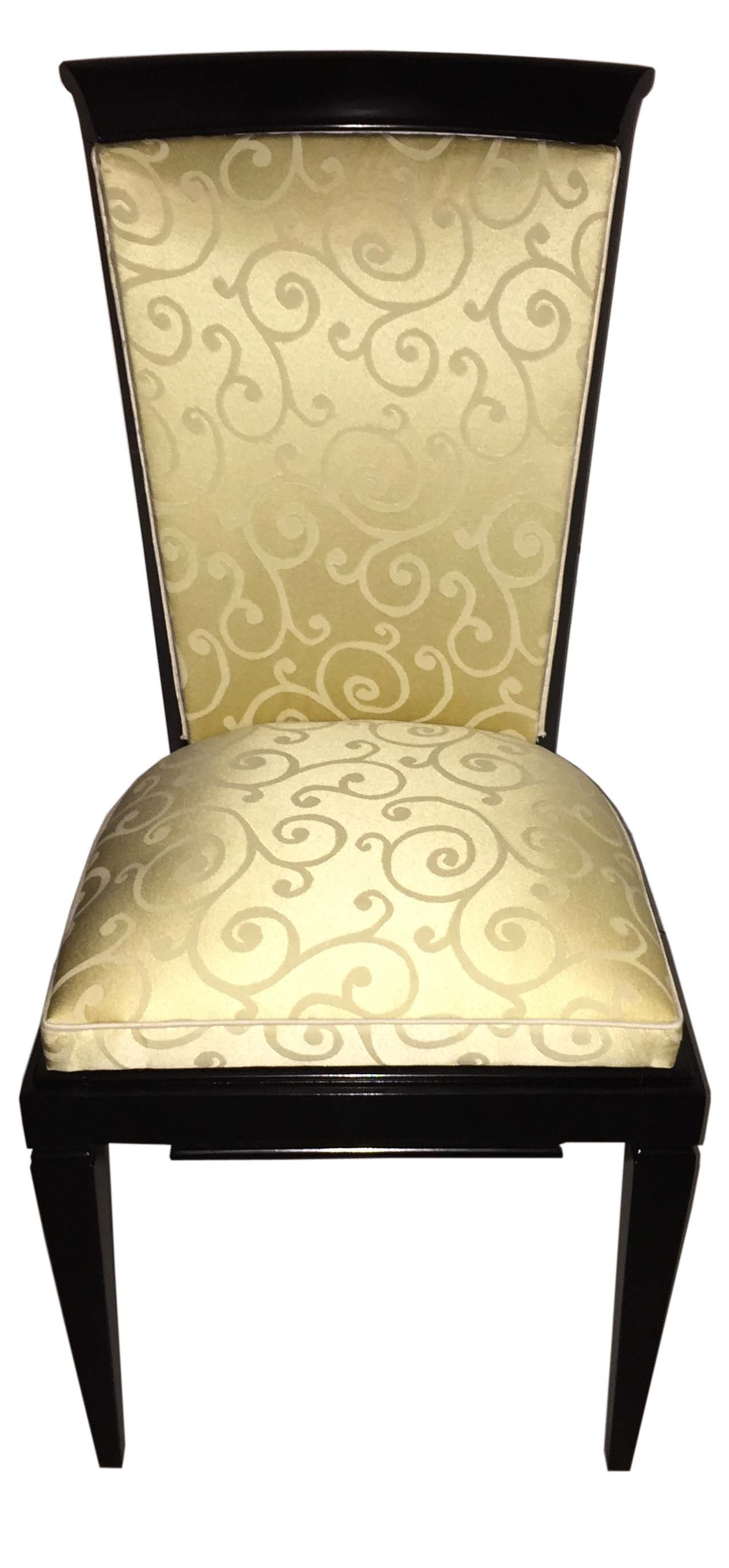 French Art Deco Ebonized Dining Chairs Set Of Six   Modernism