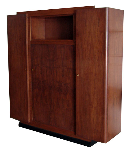 French art deco walnut elegant storage unit or bibliotheque modernism for Bibliotheque deco