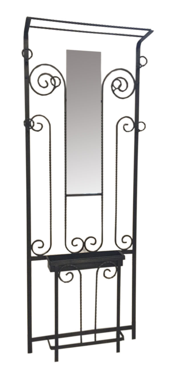French Art Deco Wrought Iron Hall Tree Modernism