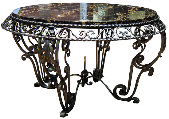 French Art Deco Wrought Iron And Marble Coffee Table