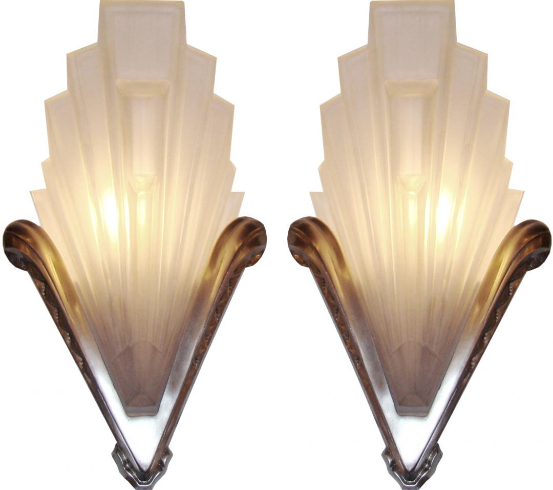 french bathroom light fixtures deco geometric frosted glass and nickel sconces 18436