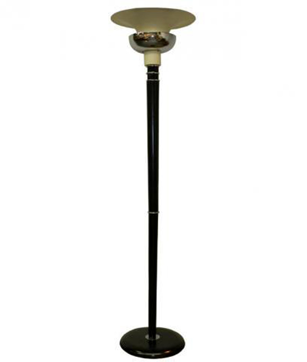 a double shade french art deco wood and metal floor lamp modernism. Black Bedroom Furniture Sets. Home Design Ideas