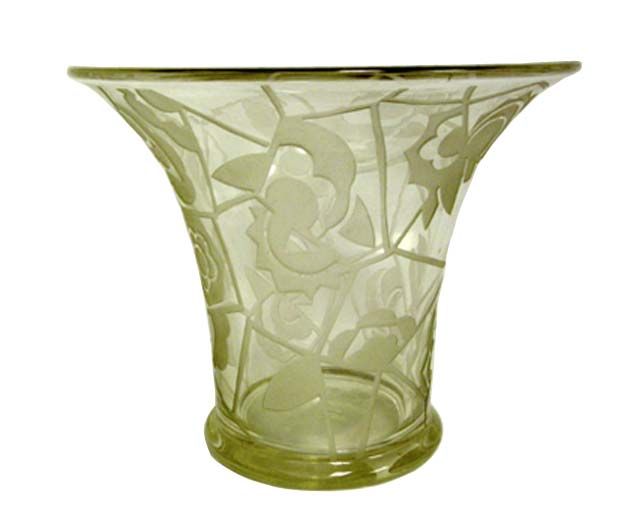 French Art Deco Glass Vase Modernism