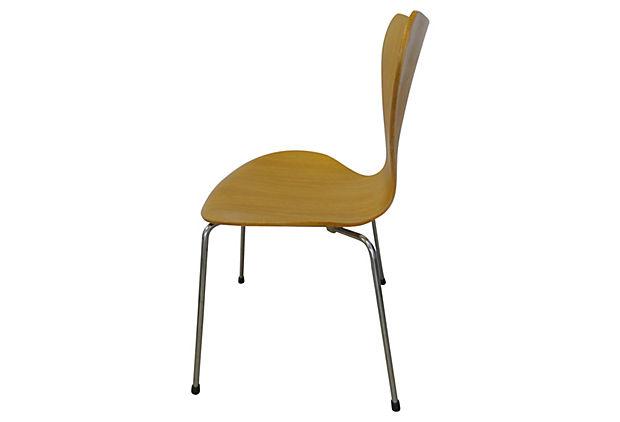 fritz hansen mid century modern bent wood chrome chair modernism