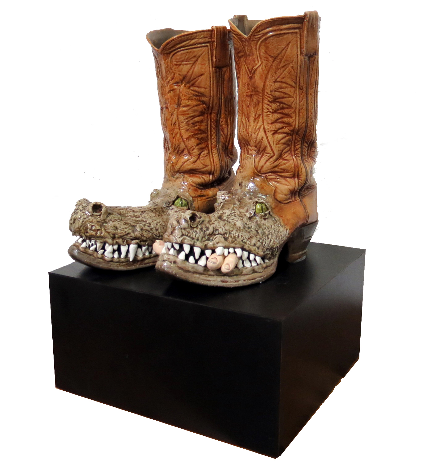 Genuine Alligator Boots Sculpture By Bob Howell Modernism