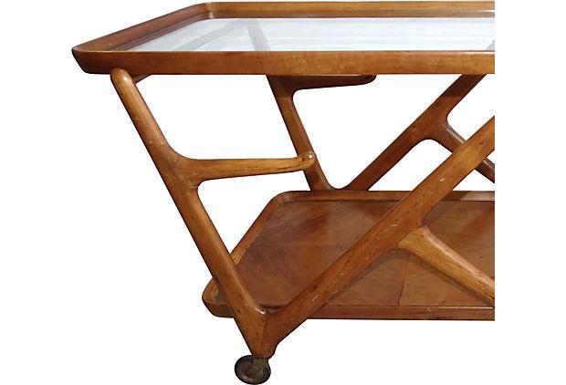 1950 39 s mid century modern wood bar trolley after gio ponti modernism. Black Bedroom Furniture Sets. Home Design Ideas