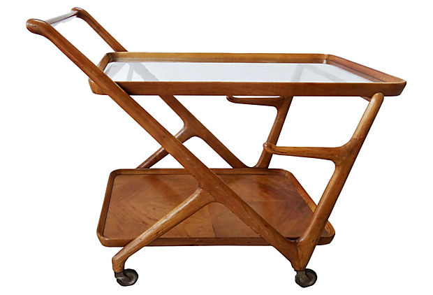 1950 S Mid Century Modern Wood Bar Trolley After Gio Ponti