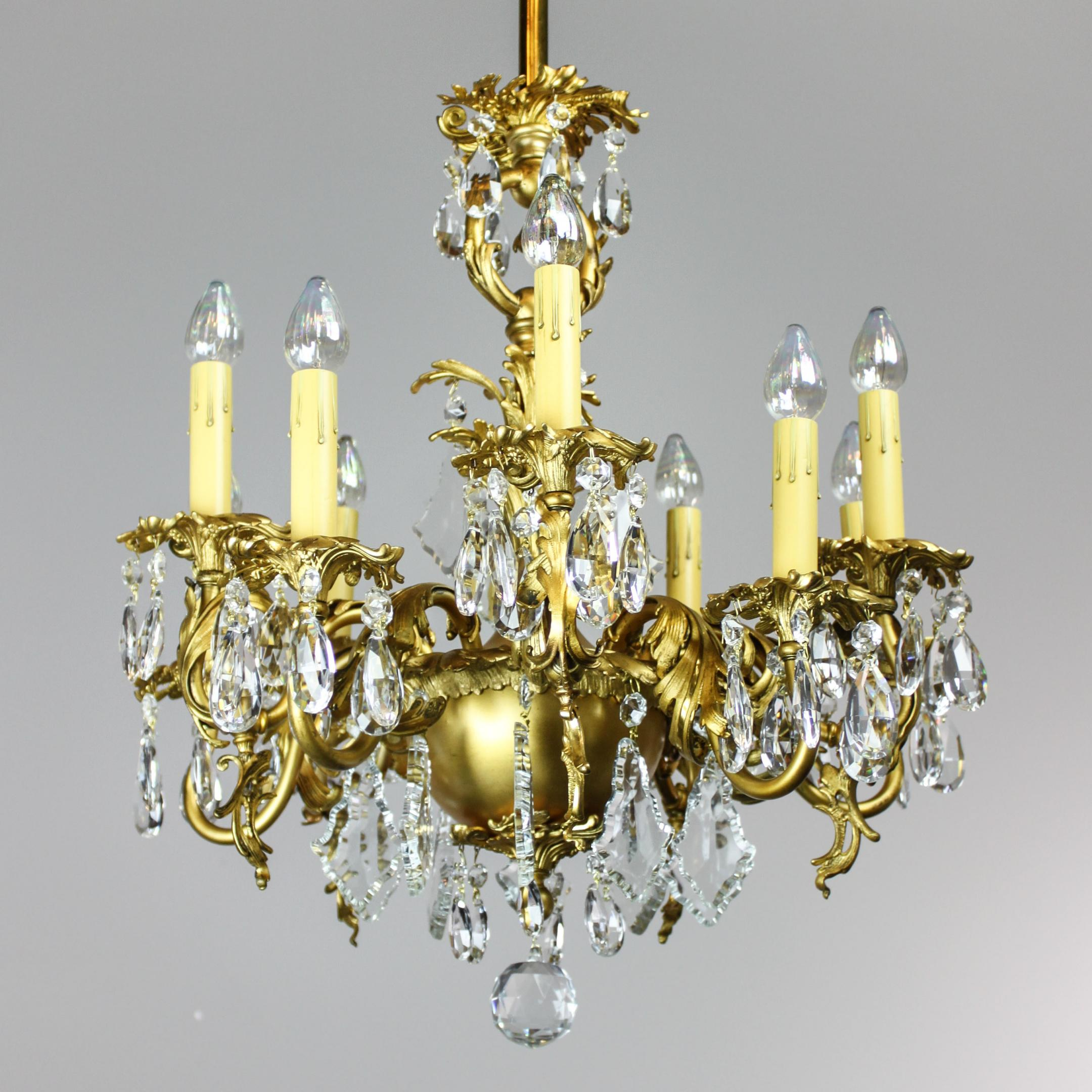 Gold Plated Rococo 1910 Converted Gas Chandelier 9 Light Modernism