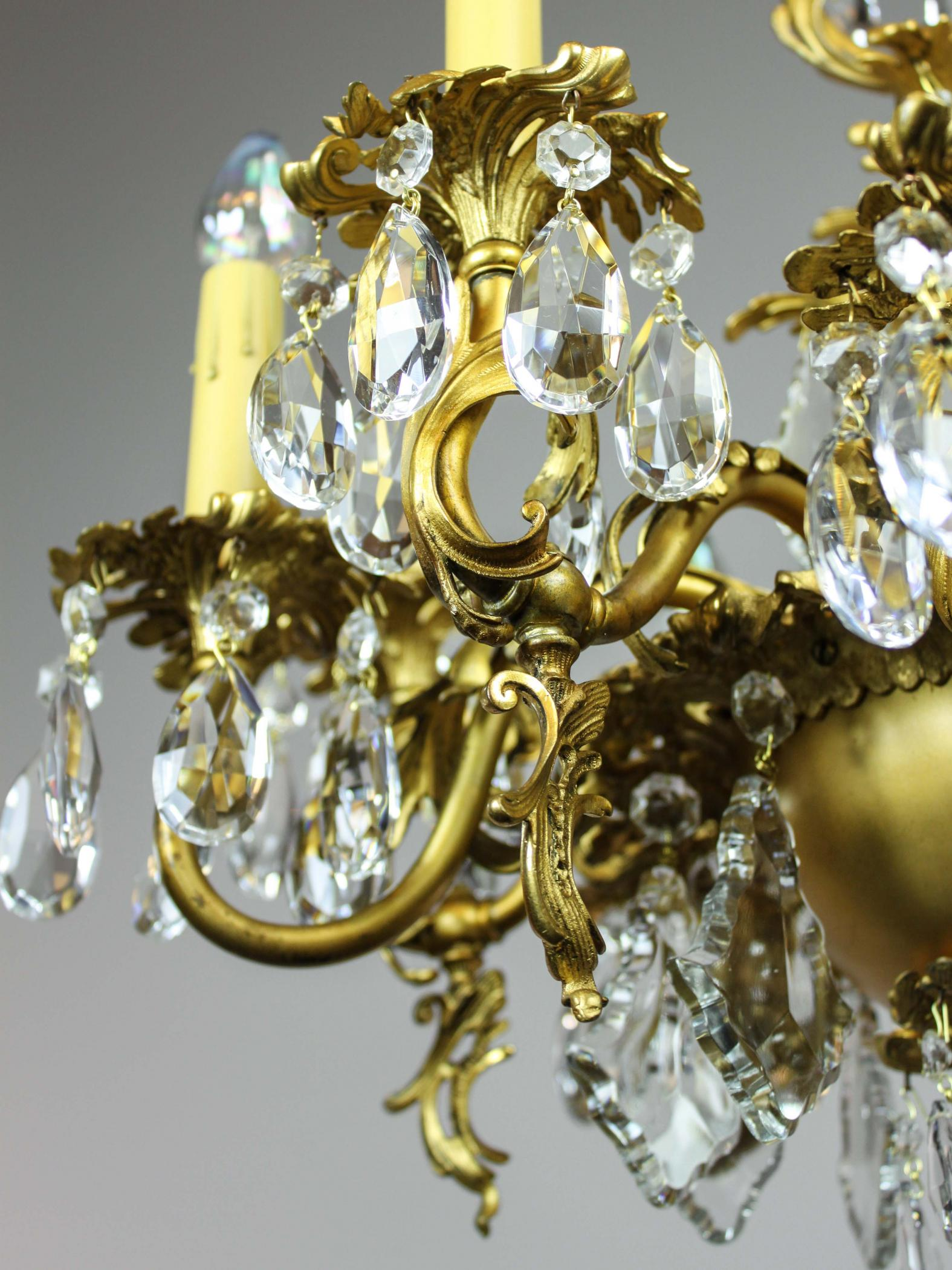 Gold plated rococo 1910 converted gas chandelier 9 light modernism gold plated rococo 1910 converted gas chandelier 9 light mozeypictures Image collections