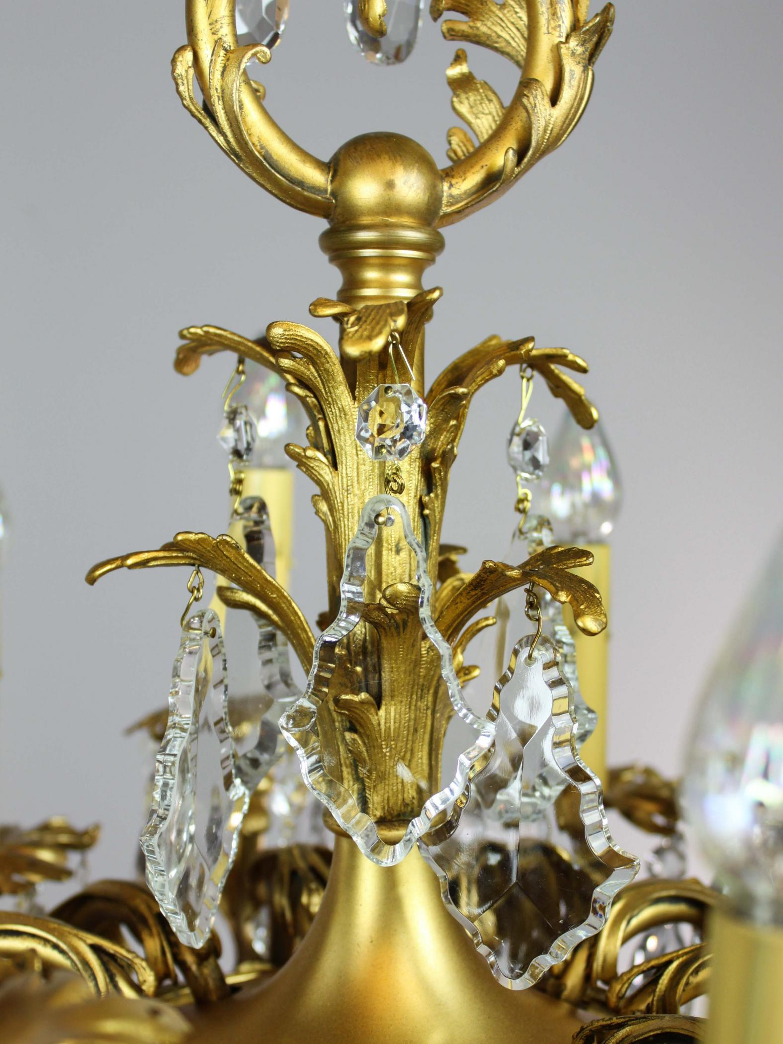 Gold plated Rococo 1910 Converted Gas Chandelier 9 light