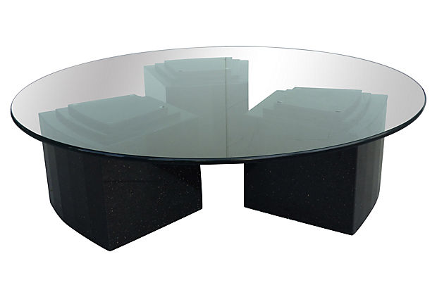 Round Coffee Table With Stepped Granite Bases Modernism
