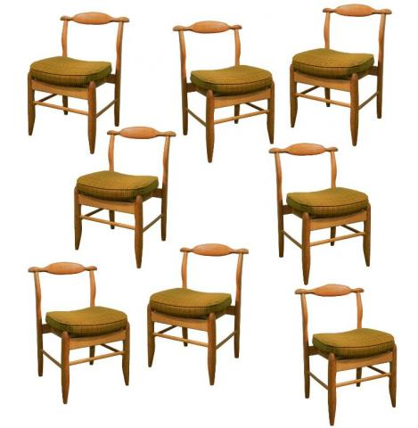 Guillerme Amp Chambron Set Of 8 Rustic Modern Dining Chairs