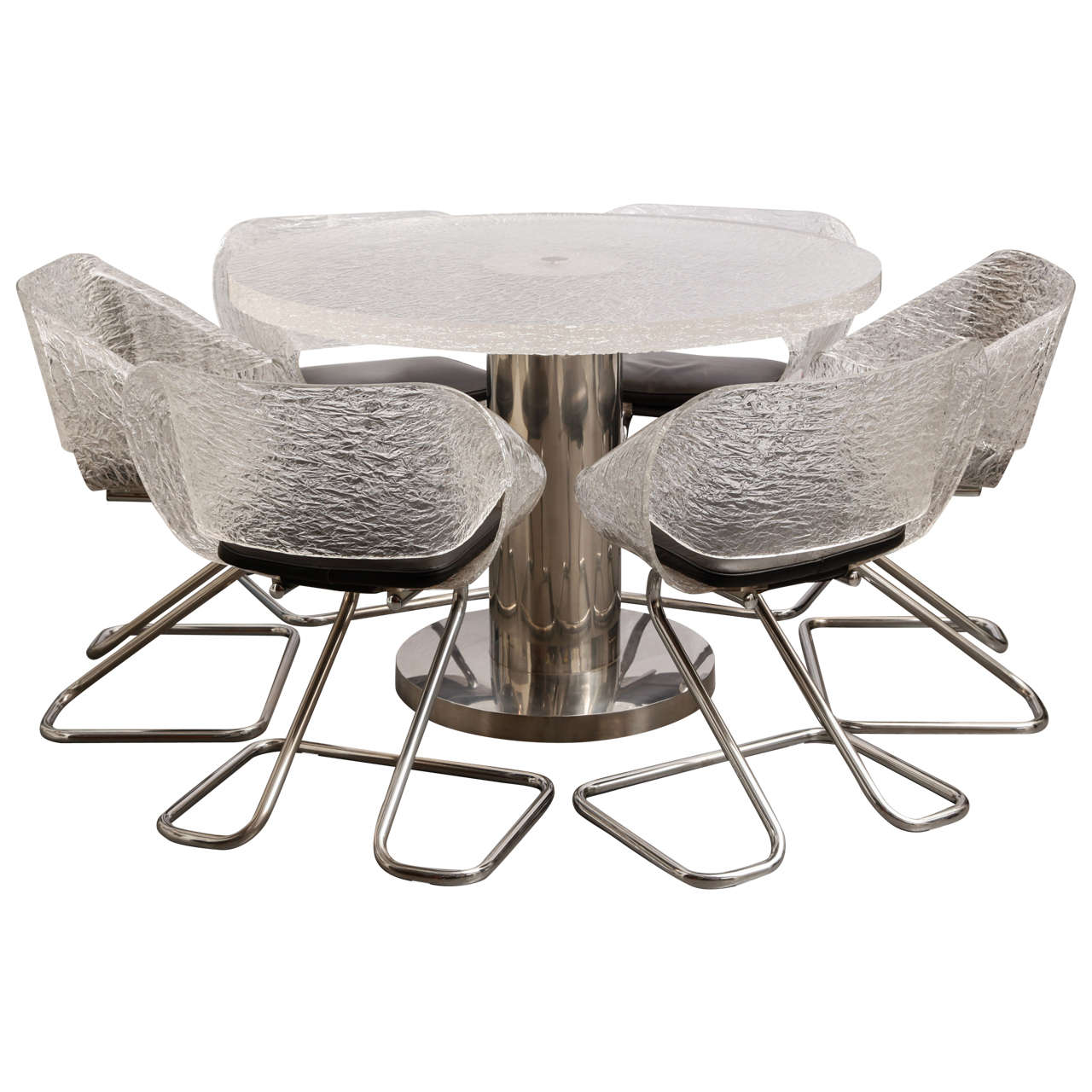 Italian design guzzini plexiglas dining table and six for Italian design dining tables