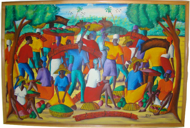 Colorful Haitian Oil Painting On Canvas Signed By Artist