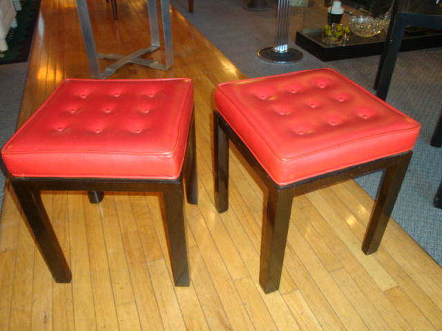 Pair Mid Century Tufted Stools By Harvey Probber