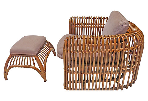 Rattan Chair U0026 Ottoman By Henry Olko For Willow And Reed. MID CENTURY ...