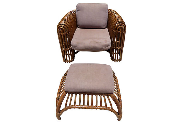Rattan Chair U0026 Ottoman By Henry Olko For Willow And Reed