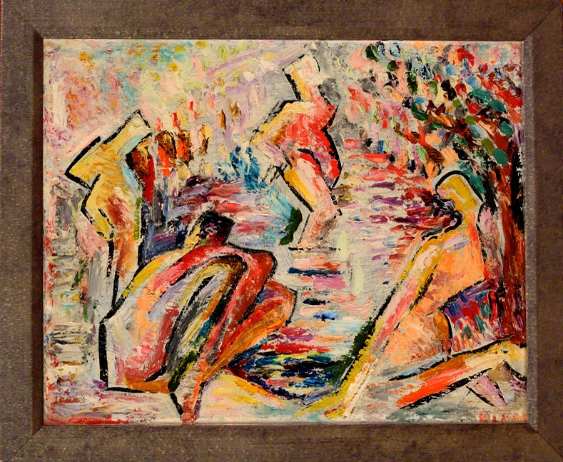 Lucien Herve Bathers Oil On Canvas Painting Modernism