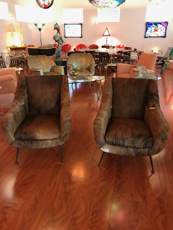 Pair Of Italian Mid Century Modern Cowhide Club Chairs