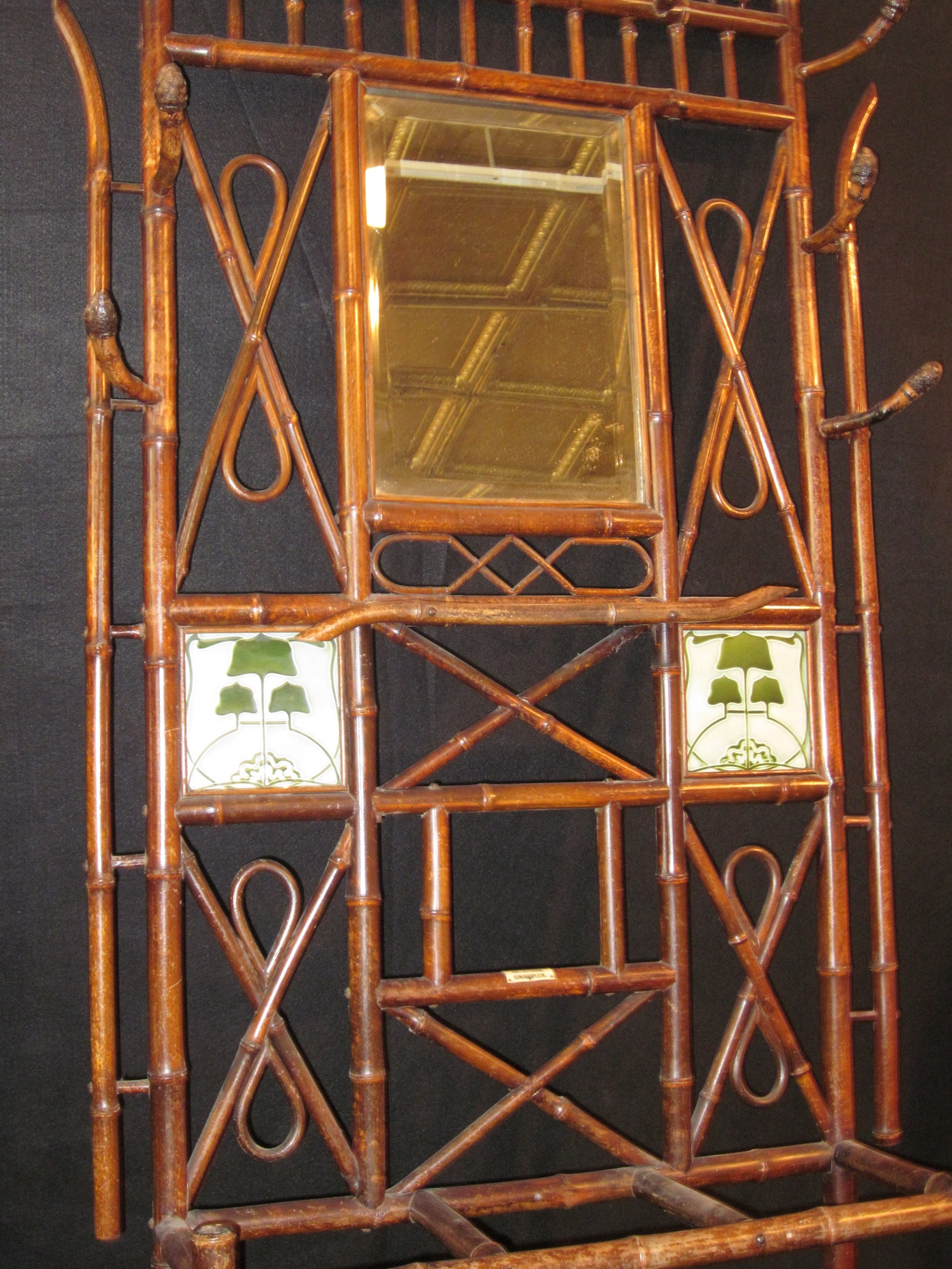 19th C Art Nouveau Bamboo Hall Tree With Mirror Tiles