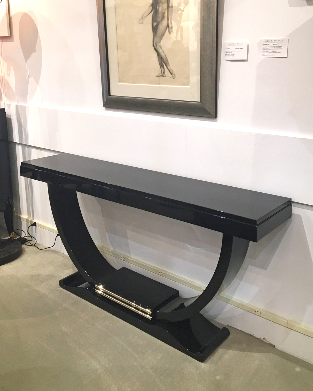 art deco u shape console table modernism. Black Bedroom Furniture Sets. Home Design Ideas
