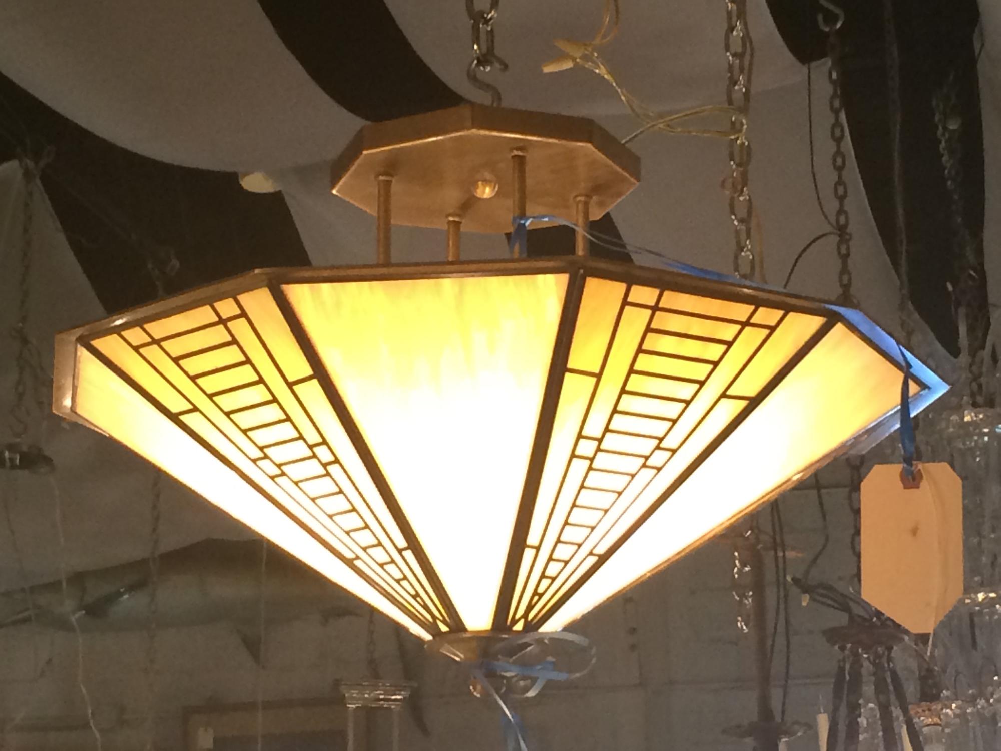 FREDRICK RAMOND Iridescent Glass Chandelier Ceiling Light