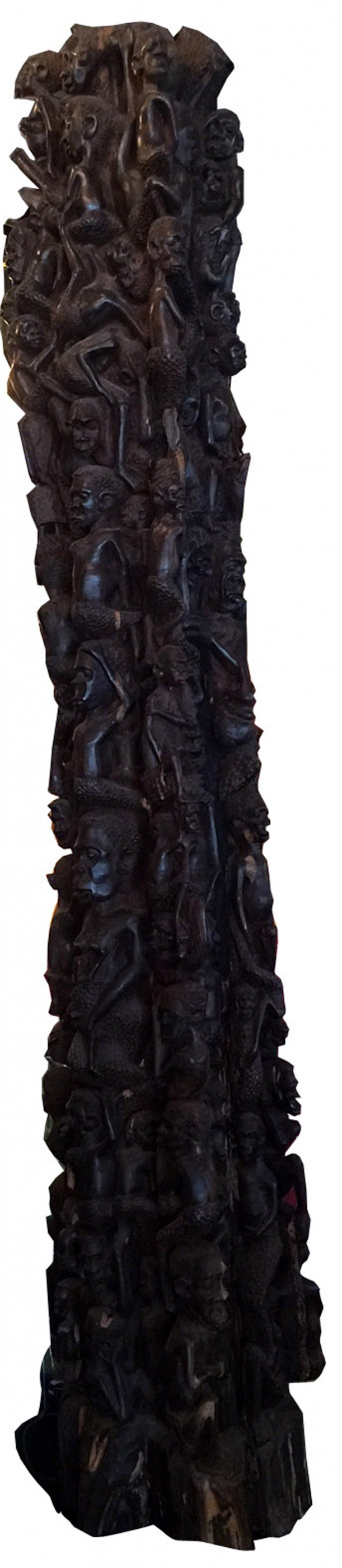 African Carved Wood Family Tree Totem Modernism