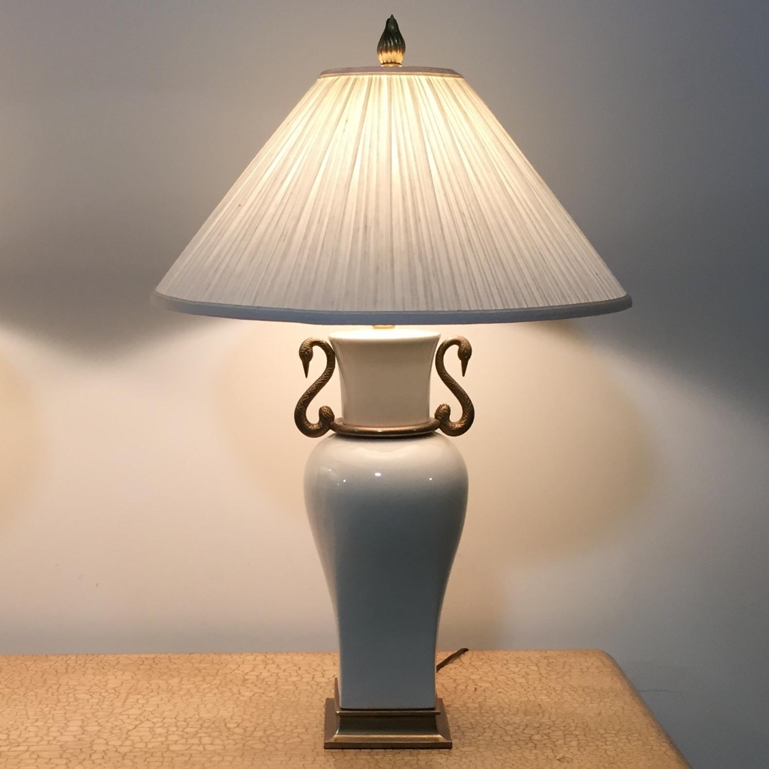 Pair 1980 Vintage Chapman Porcelain Amp Brass Table Lamps