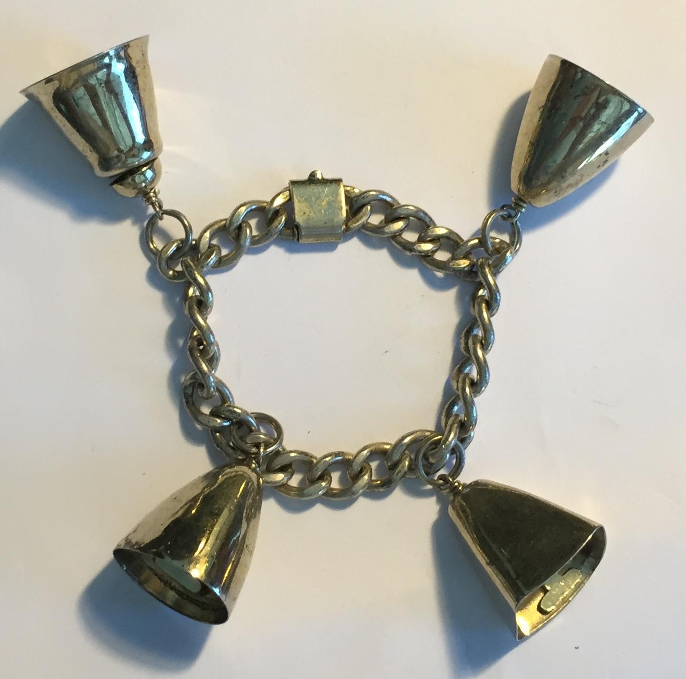 Vintage Napier Sterling Silver Bell Bracelet Modernism