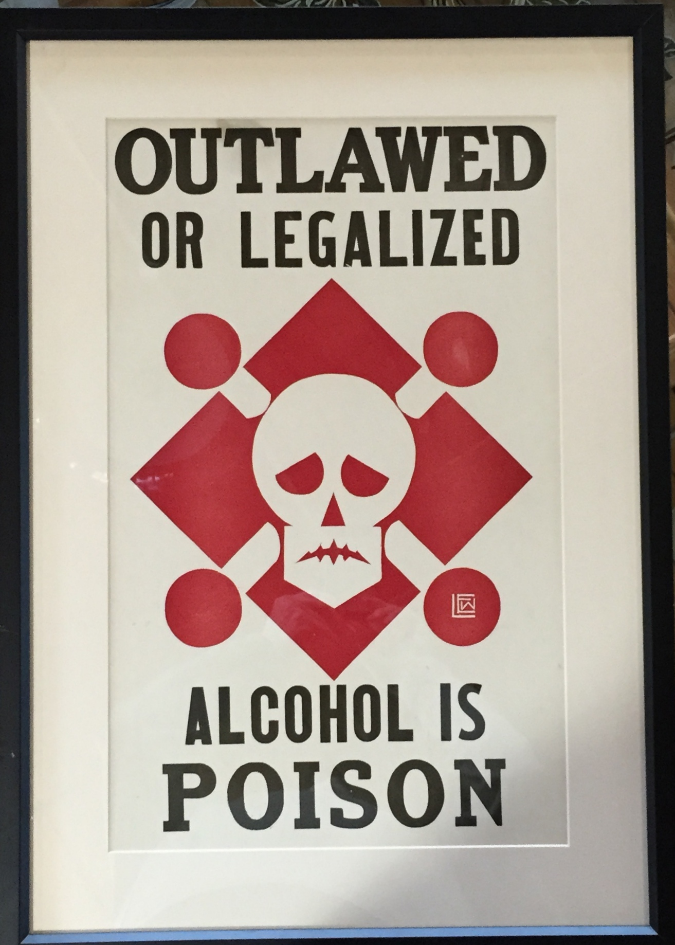 Alcohol Is Poison 1920 Vintage Silkscreen Poster Modernism