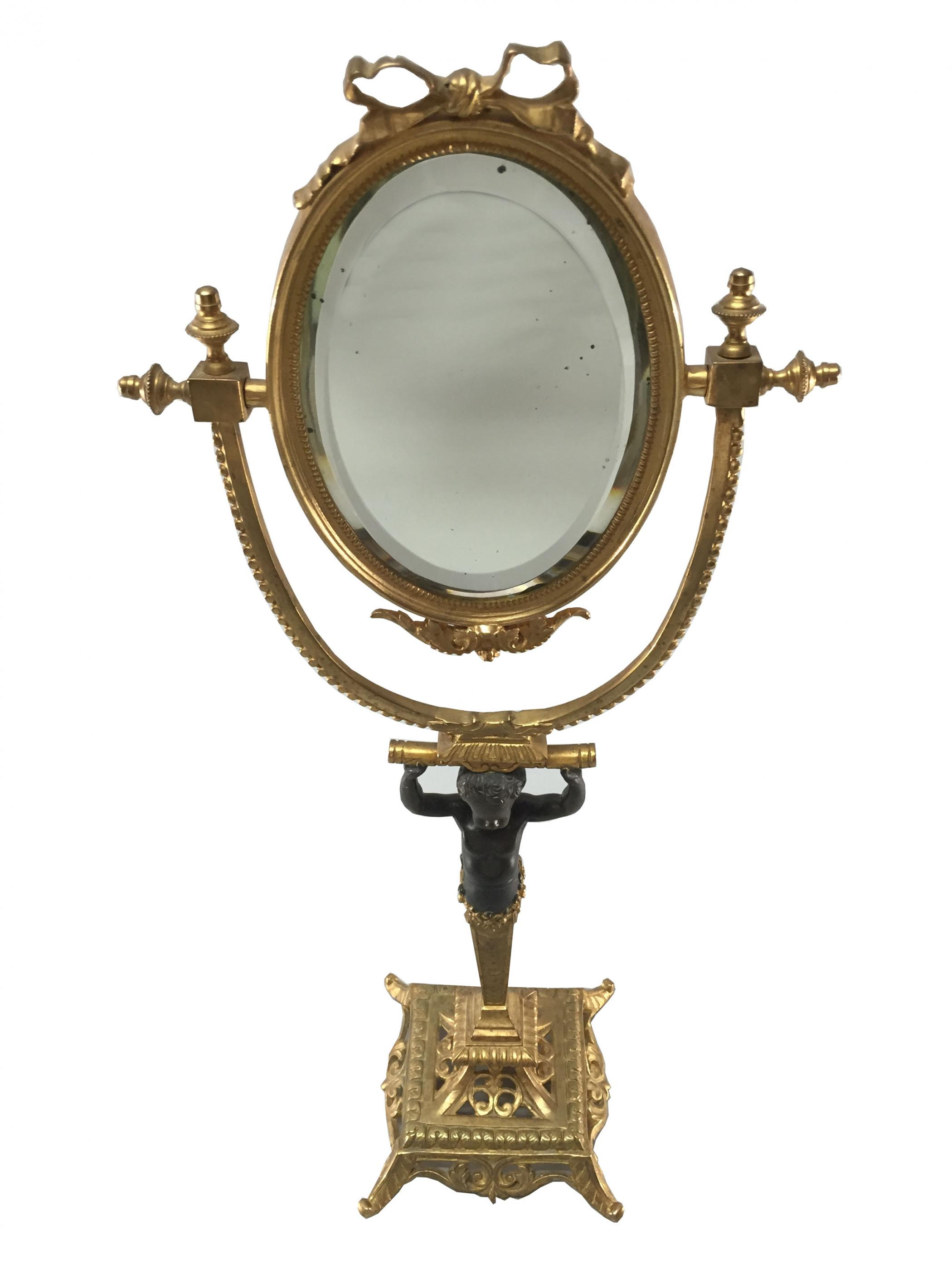 Empire style egyptian influence oval mirror on a stand for Standing glass mirror