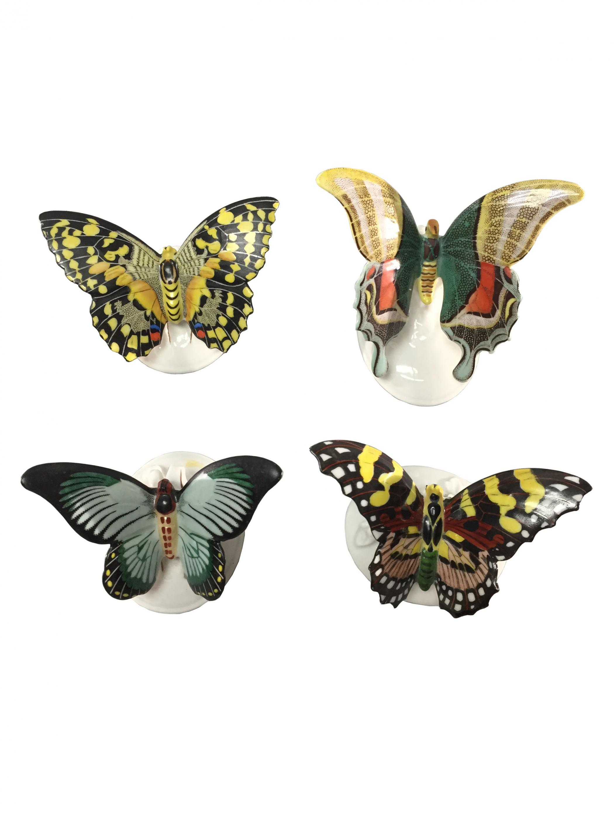 Four Rosenthal Porcelain Butterfly Figurines Ca 1920s