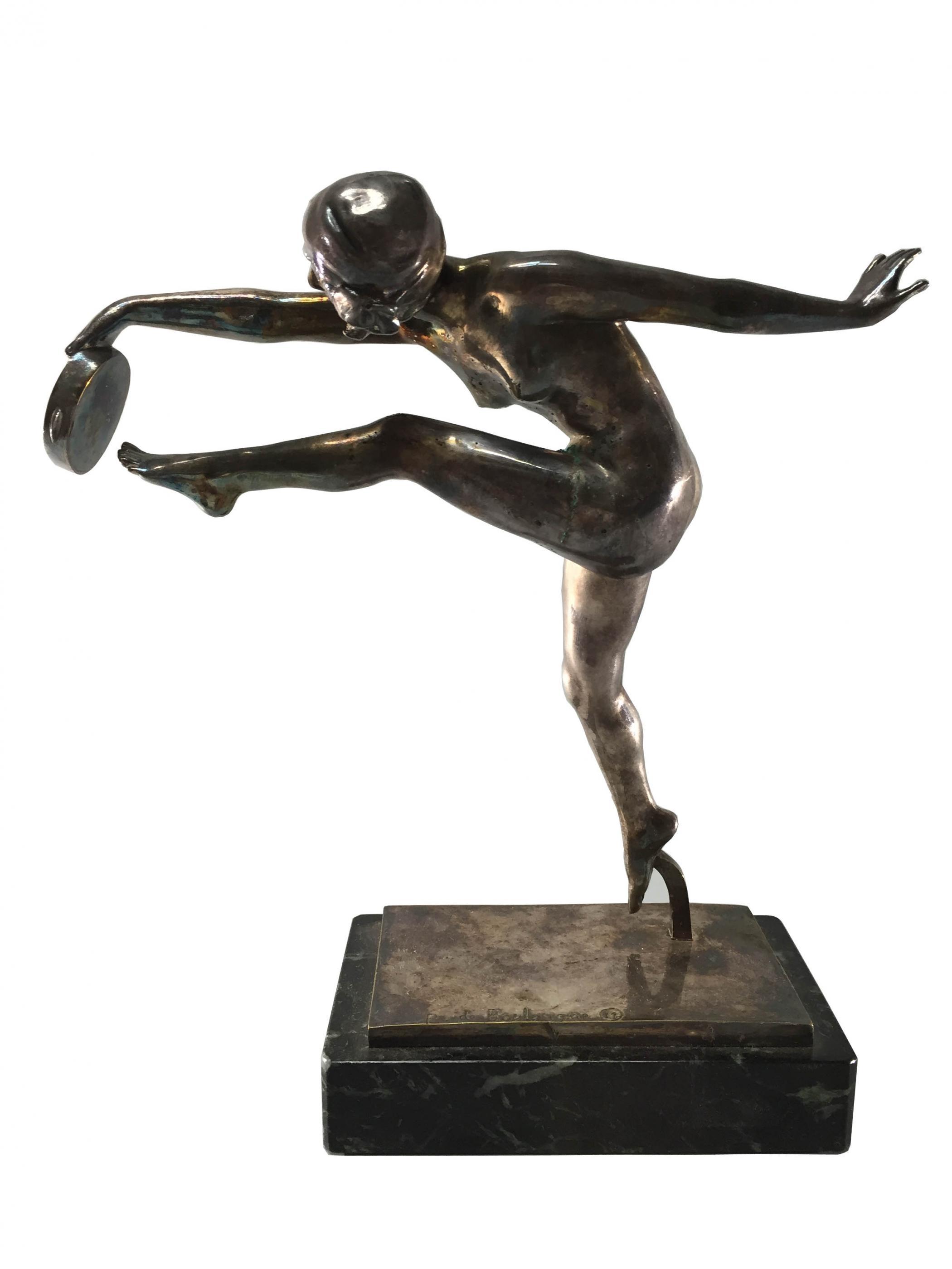 French Art Deco Silvered Bronze De Boulongne Sculpture