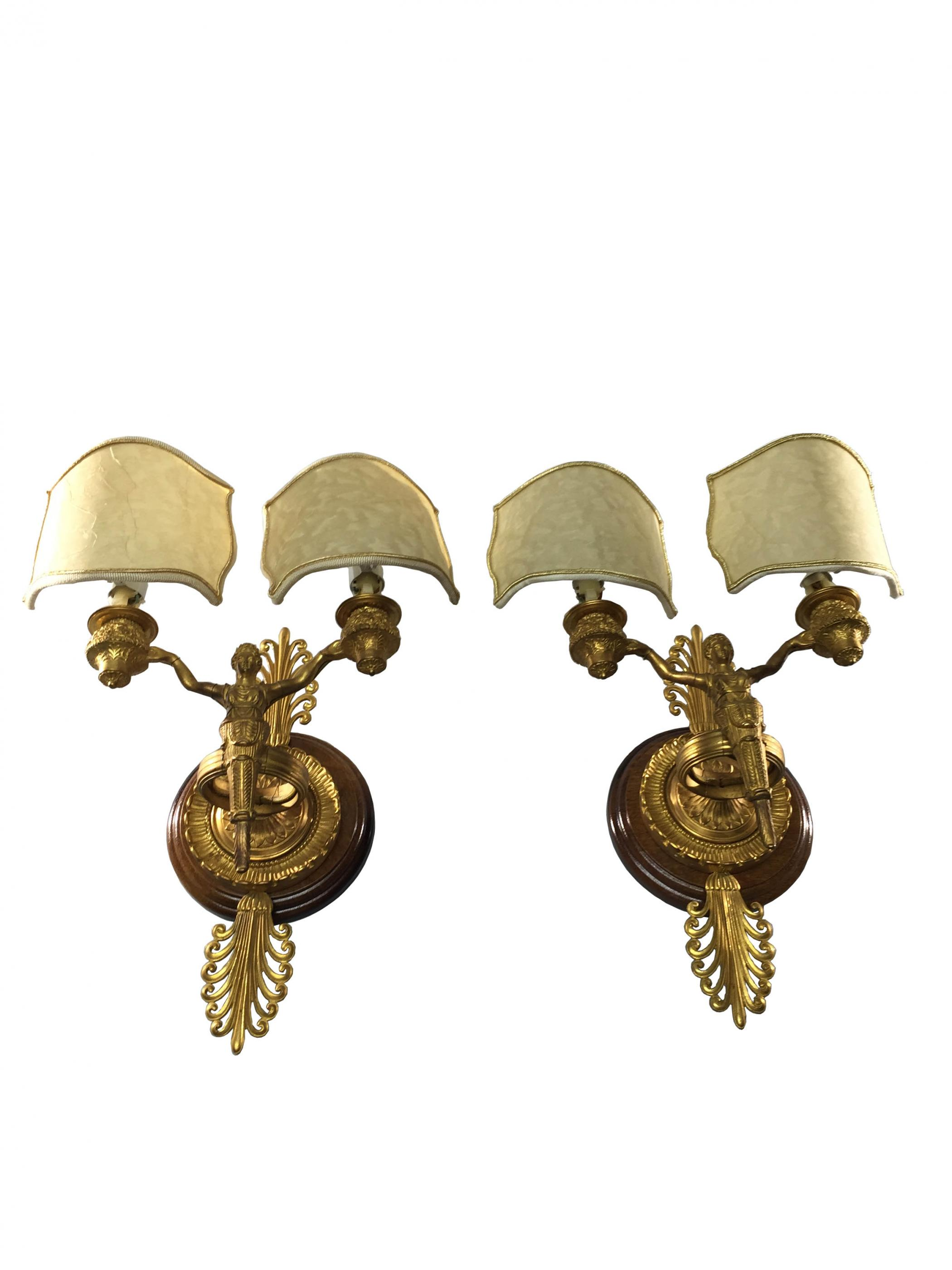 Double Wall Sconce With Shades : Hollywood Regency Double Shade Wall Sconce Modernism