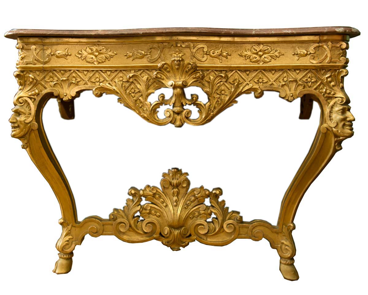 Italian Carved Giltwood Louis X V Style Console Table - Italian Carved Giltwood Louis X V Style Console Table Modernism