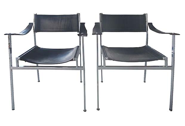 Exceptionnel Mid Century Modern Italian Chrome U0026 Leather Chairs