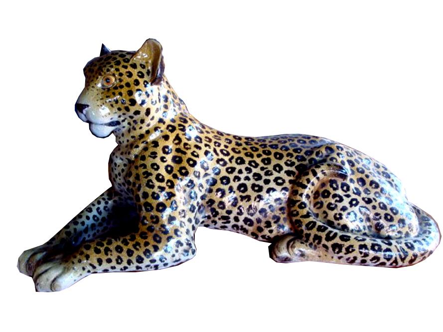 Life Size Italian Ceramic Leopard Mid Century Sculpture